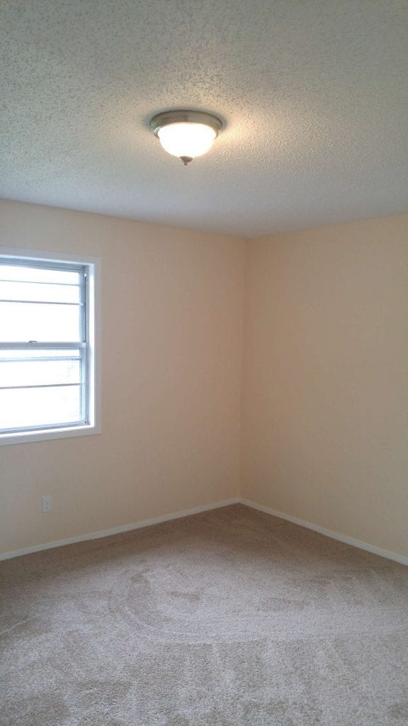 After: a modern room with brand new carpet and new paint