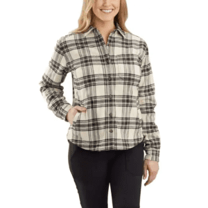 RUGGED FLEX RELAXED FIT FLANNEL FLEECE LINED PLAID SHIRT 104518